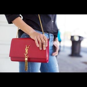 Red YSL Kate Tassel Bag with Gold Hardware ❤️✨❤️✨
